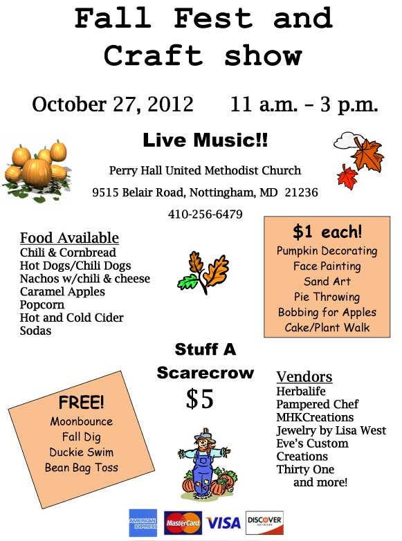 October 27 Fall Festival and Craft Show