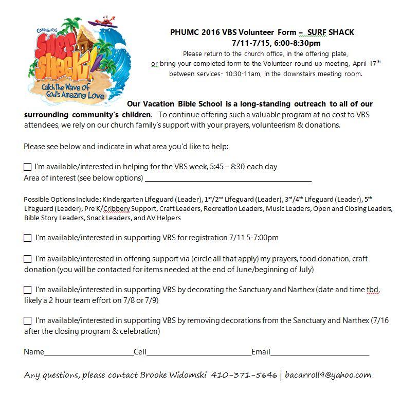PHUMC Home PHUMC VBS 2016 Volunteer Form – Perry Hall United ...