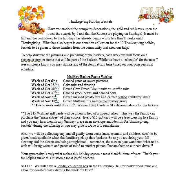 Thanksgiving food baskets week 1