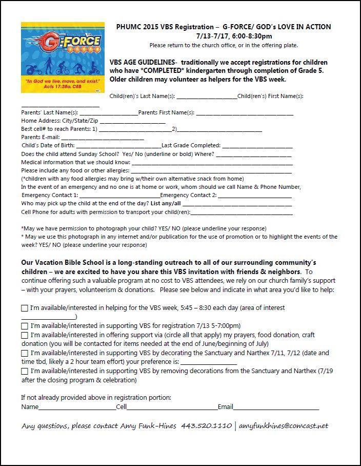 PHUMC Home FINAL PHUMC 2015 VBS Registration and Volunteer form ...