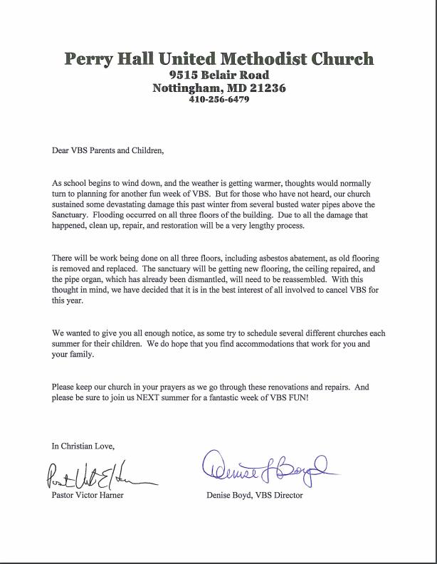 PHUMC Home VBS Letter 2019 – Perry Hall United Methodist Church